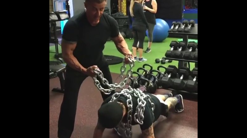 Sylvester Stallone in the gym Training for Escape Plan 2