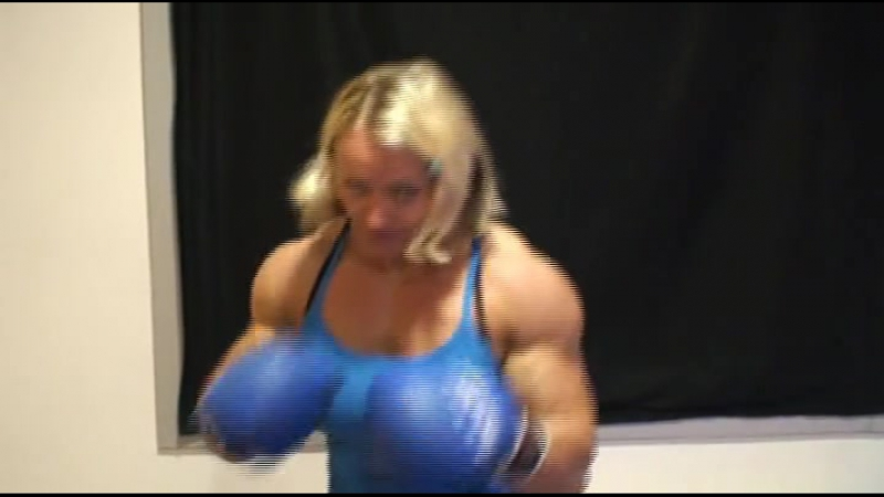 Muscle woman POV boxing