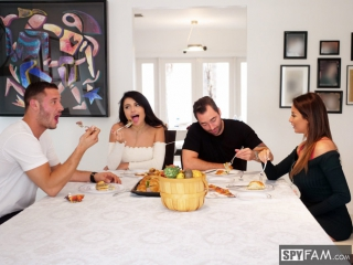 Adria rae, anissa kate thanksgiving family fuckfest [hd porno, group sex, swing, orgy, big ass, natural tits, boobs, oral, bj]