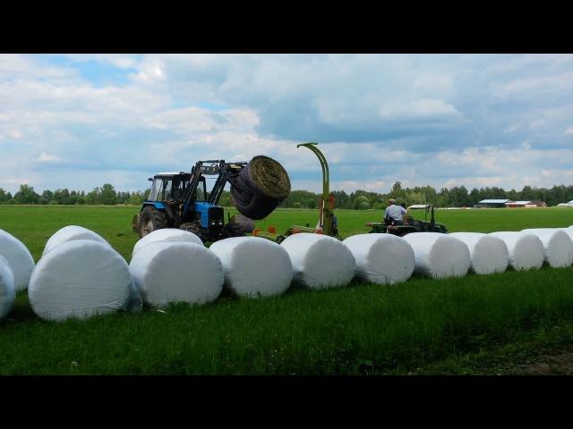 Обмотка рулонов сенажа в КФХ Герефорд в 2017 году