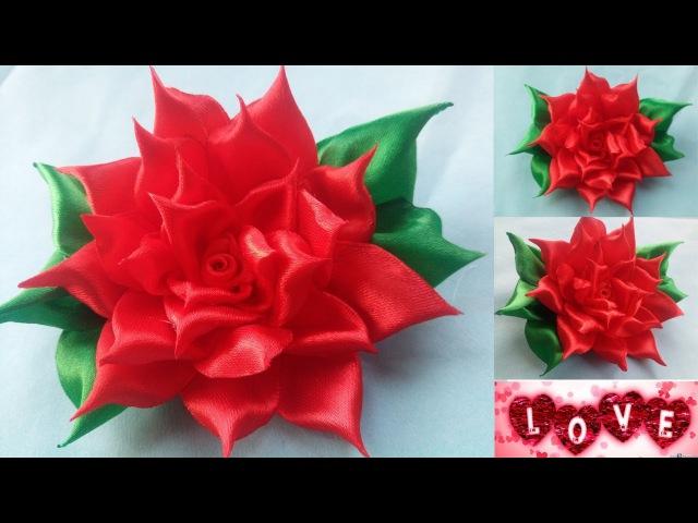 Diy satin ribbon rose | Satin ribbon rose tutorial | How to kanzashi | kanzashi red flower