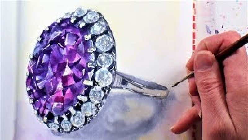 Sparkly Amethyst Gemstone Ring in Watercolor Sketchbook Sunday (Narrated Time-Lapse)