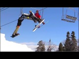 SNOWBOARDER HUNG FROM CHAIRLIFT !!