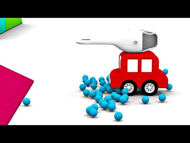 Dessin animé de 4 voitures colorées. Construction d'un hélicoptère