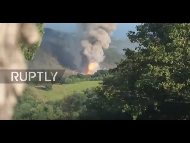 Abkhazia Fire balls sent sky high as munitions depot goes up in flames, 50 injured