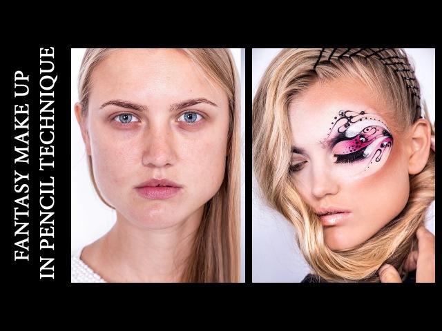 Fantasy Make Up in Pencil Technique \ Видео-урок Фантазийный макияж » Freewka.com - Смотреть онлайн в хорощем качестве
