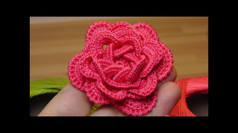 Как связать объёмную РОЗУ крючком - crochet flowers the roses