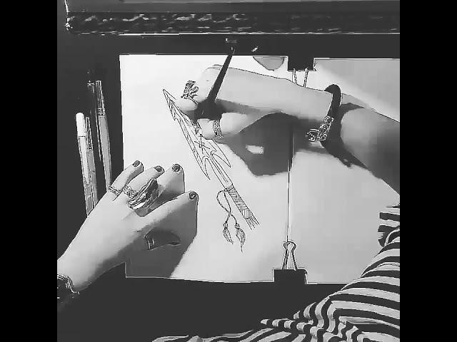 Ink Gungnir Spear Sketch