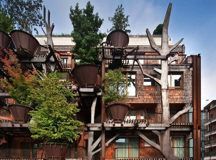 Фасад из деревьев и кустарников: лучшая замена фильтрам и кондиционерам.