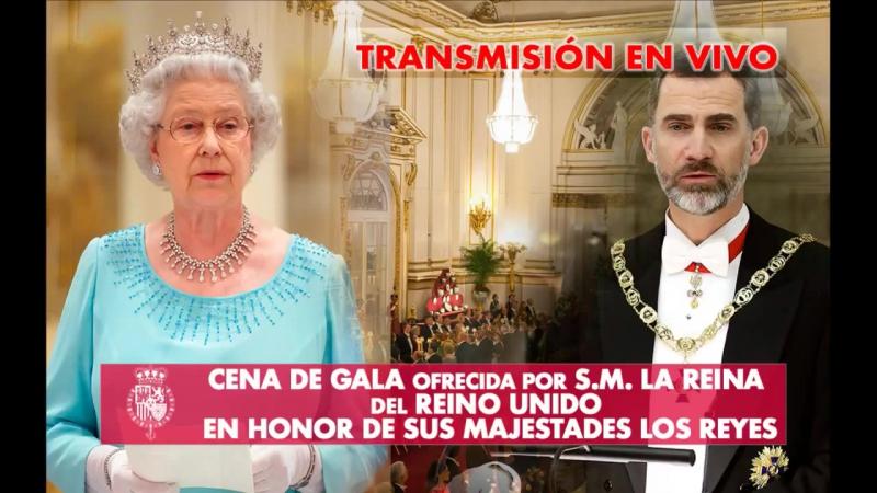 Совместный ужин королевы Англии Елизаветы II и короля Испании Филиппа VI