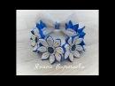 Украшение на пучок ( резинка на гульку) Канзаши / DIY Kanzashi Flower Bun Garland Headband