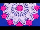 Cómo tejer Centro de mesa a crochet con punto piña y aplicaciones de flores
