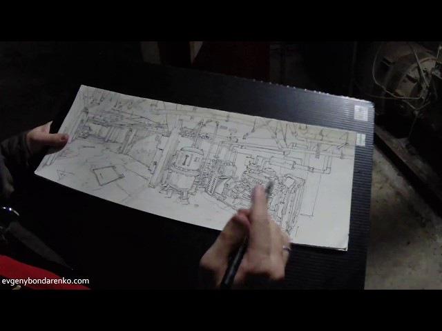 Sketching Taiwan Basement. Urban Sketch timelapse.