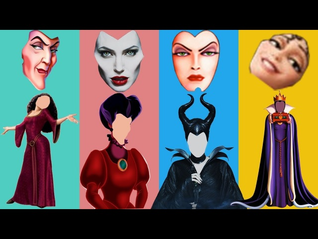 Wrong Faces Angelina Jolie Lady Tremaine Evil Queen Finger Family Learn Colors Nursery Rhyme