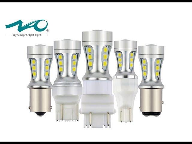 NAO PY21W LED front turn signal White 6000K , Car LED lights VS halogen comparison,New Evaluation