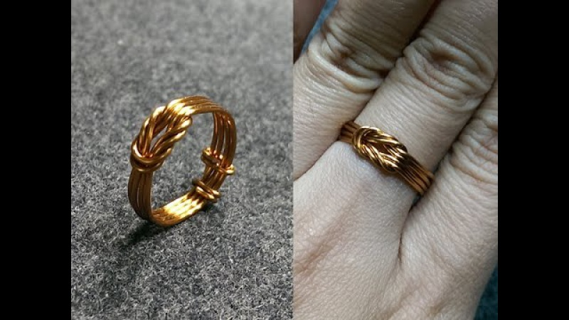 Copper wire knot ring - handcrafted copper jewelry 147