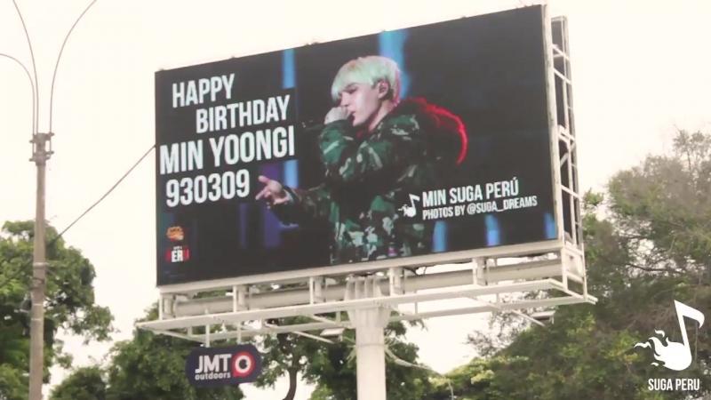 080318 Min Yoongi's Billboard Ad in Lima Peru by @ MinSugaPeru BTS Perú