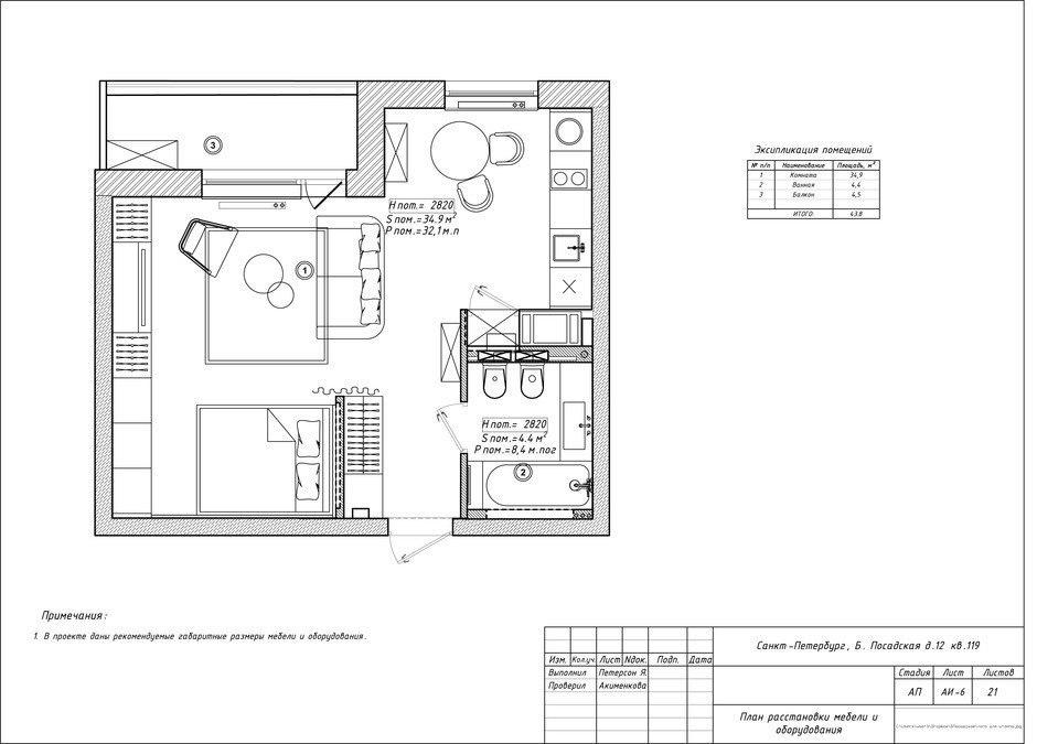 Проект квартиры 39 м для молодой женщины.