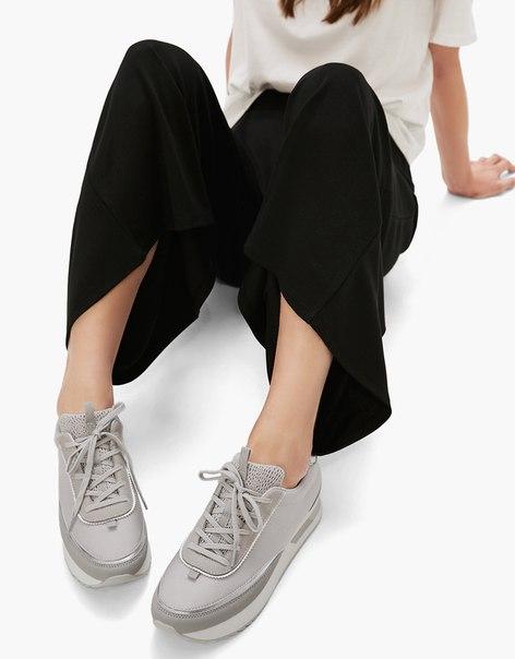 Комбинированные кроссовки с металлизированной отделкой