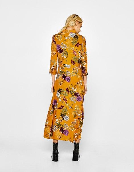 Платье-рубашка с цветочным принтом