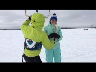 8 марта на Подольских полях. Обучение сноукайтингу в Москве