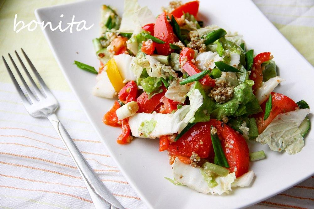 Овощной салат с ореховой заправкой
