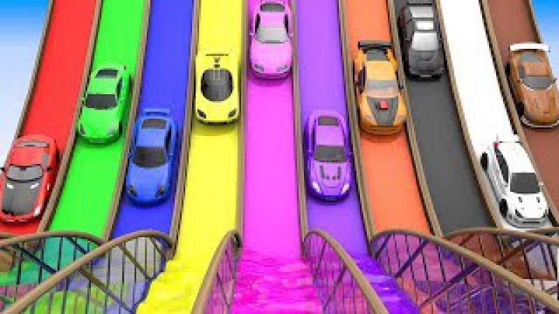 Colors for Children to Learn with Toy Super Cars with Color Water Sliders for Kids, Vehicle Parking