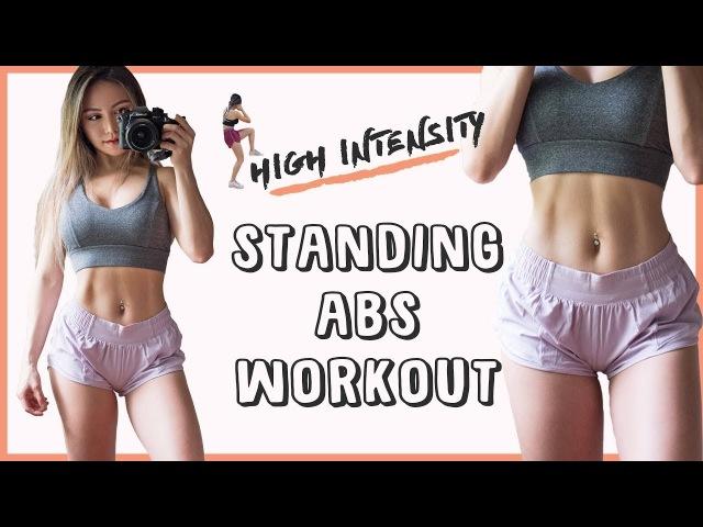 Chloe Ting - High Intensity Abs Workout | Тренировка живота в положении стоя