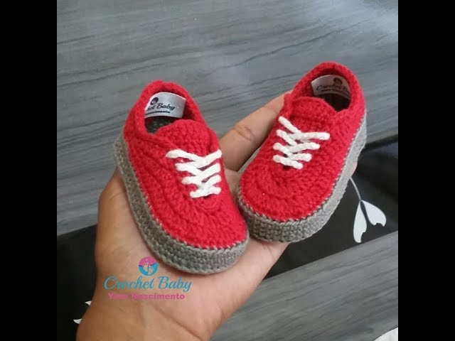 Tênis VANS de crochê - Tamanho 09 cm - Crochet Baby Yara Nascimento