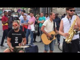 Lady Gaga, Poker face (Boston Band RU cover) - busking in the streets of Brussels, Belgium