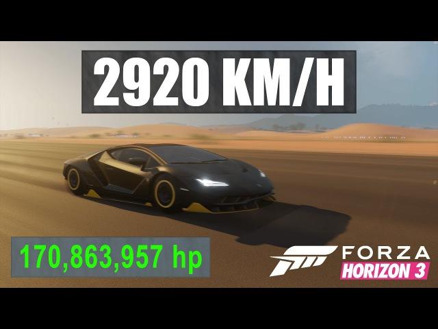 Forza Horizon 3 2900KMH with 170 000 000HP Centenario Over 2x Speed of Sound Dev Build Modding