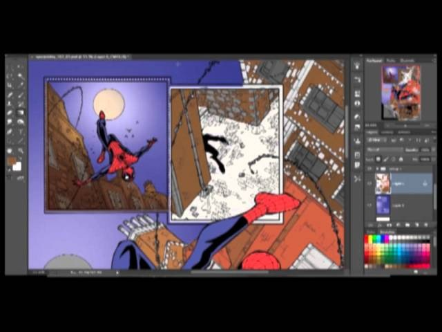 How to color comics featuring spiderman full speed paint