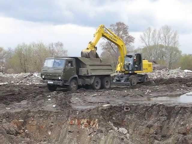 Russian shovel EK-14 KamAZ-55111 dump truck