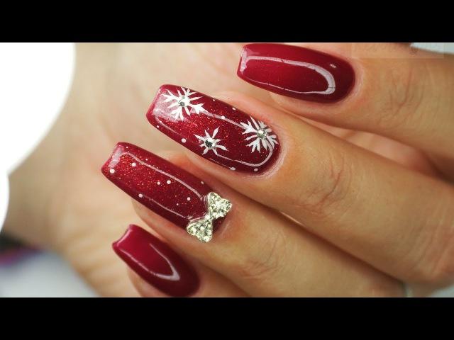 Snowflakes and bow 😍/ Winter nails art 2 / Bluesky /nowa jakość filmu 1080p❤️‼️