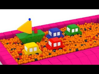 Um BARCO de brinquedo⛵ 4 CARROS coloridos. Desenhos animados para crianças. Br