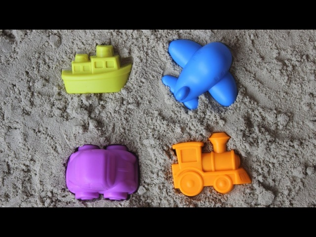 Kids vehicles with sand pit toys - videos for children
