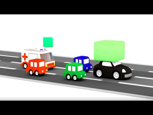 4Coches: el coche negro robó el bloque 🚨4 COCHES coloreados🚗Dibujos animados🚙Coches para niños