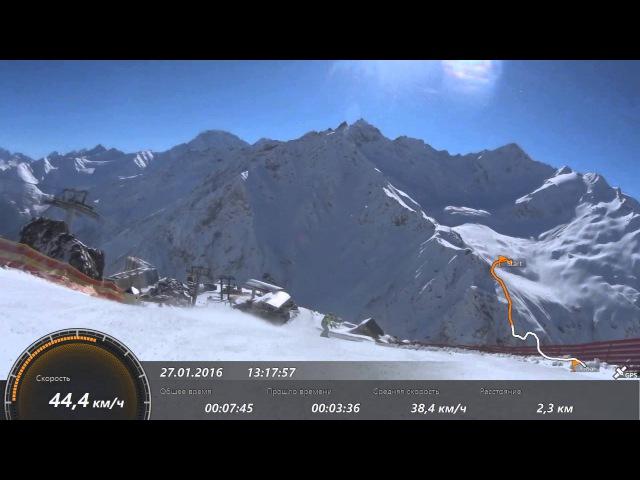 Спуск с Эльбруса. Сноуборд
