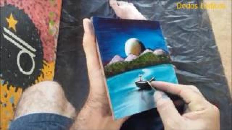 Pintura em azulejo pescador com lua cheia