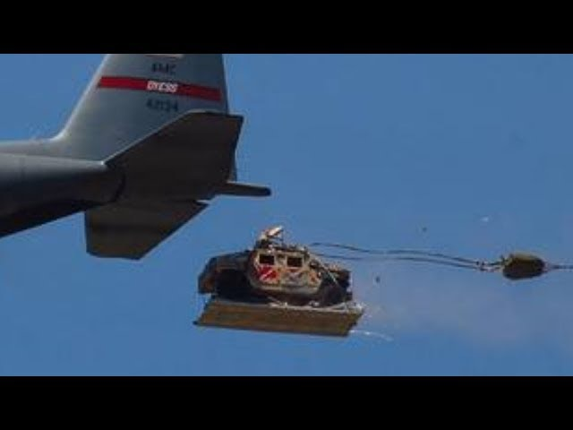 HEAVY CARGO DROP! Amazing footage of C-17 Globemasters C-130 Hercules AIRDROPPING HUMVEES!