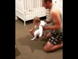 Dad Has His Hands Full While Getting Daughters Ready For Bed
