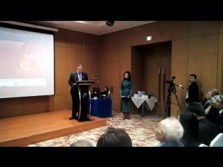 А. А. Бондаренко зачитывает приветствие в адрес академика Ш. Биры