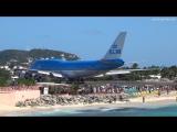 Взлет Boeing 747 KLM, аэропорт острова Сен Мартен