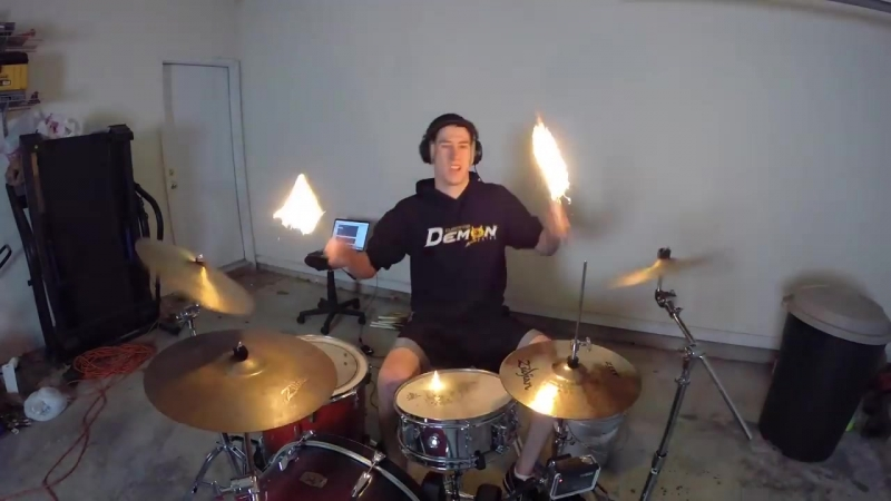 Burn - Drum Cover with Fire Sticks - Ellie Goulding - Drumming With Fire