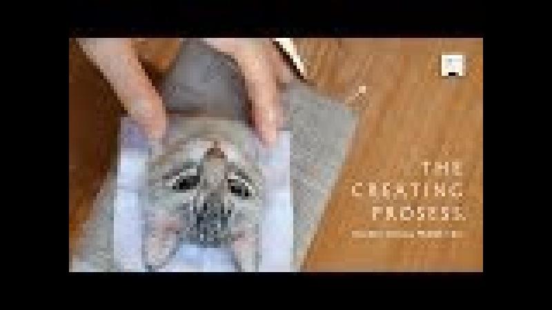 羊毛フェルトで猫を作る制作過程 How to needle felt ; I will show you how-to step by step