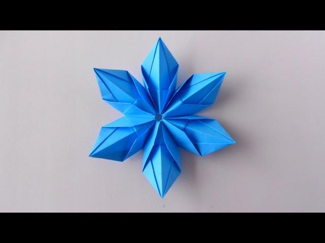Снежинка из бумаги Оригами Снежинки на Новый год 2019