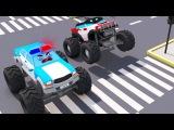 Bad Monster Truck Vs Police Car - Monster Trucks Video For Kids Cars Team Cartoons