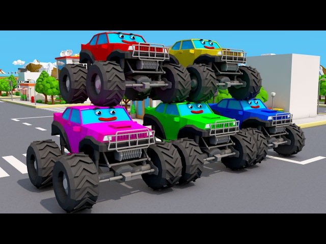 Learn Colors Learn Numbers With Monster Truck Finger Family Nursey Rhymes Song for Kids