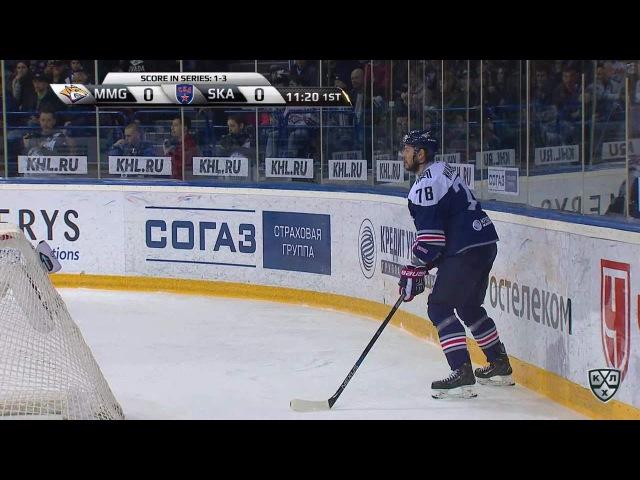 Моменты из матчей КХЛ сезона 16/17 • Гол. 1:0. Осала Оскар (Металлург Мг) поразил дальний угол 16.04