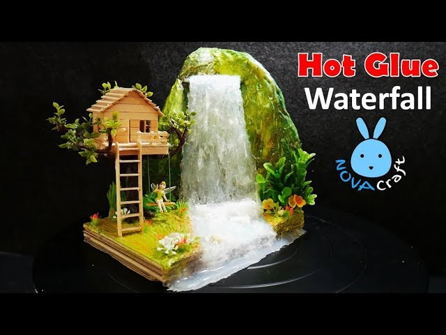 Hot Glue Waterfall mini House Building Tinker Bell's Tree house Tutorial | ทำบ้านน้ำตกของทิงเกอร์เบล
